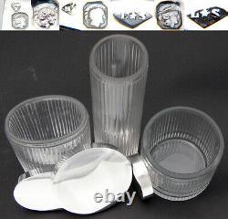 Vint. French Sterling Silver & Cut Glass 6pc Vanity Set, Jars & Perfume Bottles