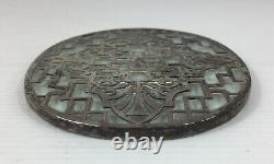 Vintage 1930 Adie Brothers Ltd Sterling Silver Mounted Glass Coaster 13.2cm Long