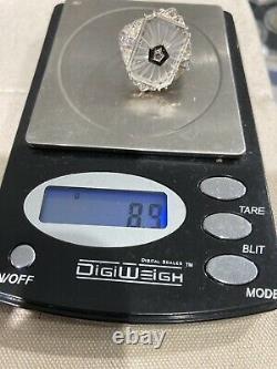 Vintage 925 Sterling Silver Camphor Glass Ring Filigree 14k White Diamond Center
