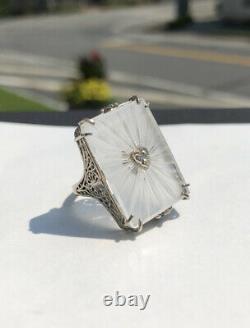 Vintage 925 Sterling Silver Camphor Glass Ring Filigree Diamond Heart Center