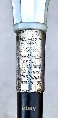 Vintage Antique 1917 England Sterling Silver Gadget Spy Glass Walking Stick Cane