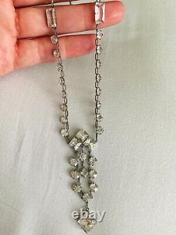 Vintage Antique Art Deco Paste Crystal Glass Open Back Sterling Lariat Necklace