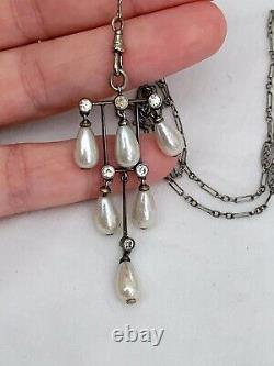 Vintage Antique Art Deco Sterling Crystal Glass Pearl Paste Bezel Long Necklace