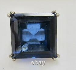 Vintage Art Deco Large Blue Glass Paste Ring Sterling Silver Antique