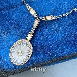 Vintage Art Deco Sterling Silver Camphor Glass Pendant Necklace