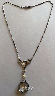 Vintage Art Deco Sterling Silver Clear Rhinestone Filigree Pendant Necklace M9