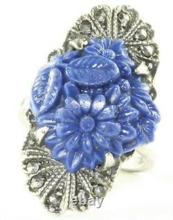 Vintage Art Deco Sterling Silver Marcasite Molded Glass Lapis Ring