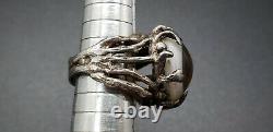 Vintage Big Sterling Silver Brutalist Glass Eyeball Ring Approximate Size 6.5