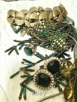 Vintage Costume & Fine Jewelry Lot 7 Lbs Luxor Early 20th Century Cosmetics Tin