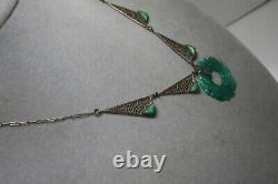 Vintage Czech Max Neiger Sterling Silver Peking Glass Jade Pendant Necklace