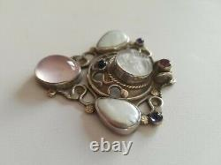 Vintage HEMMEL Multi stone and Sterling AND 14k, glass MOON FACE Pendant, WOW