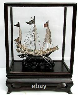 Vintage H K Sterling Silver Junk Ship In Custom Wood & Glass Covered Case