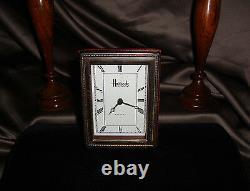 Vintage Harrods Knightsbridge Sterling Silver Framed Wood Desk Mantel Clock 1992
