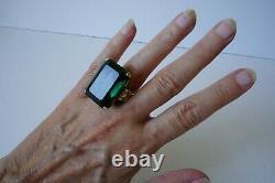 Vintage Huge Sterling Cocktail Emerald Cut Green Glass Ring Art Deco