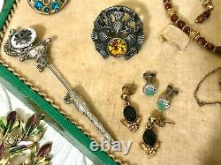 Vintage Jewelry Lot 1.5 Lbs Mostly Sterling and 12-14K Gold Filled, Vanity Box