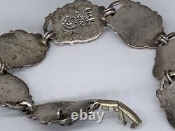 Vintage Margot de Taxco Sterling Silver Blue Stone Repousse Bracelet 7.5