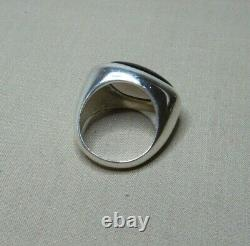 Vintage Modernist Sterling Silver & Smokey Quartz Ring By Najo Sn961