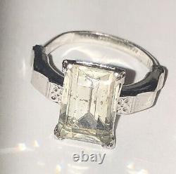 Vintage Osbee Ostby Barton Rhinestone Paste Glass Cocktail Ring Sz 5.5-Estate