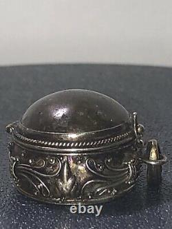 Vintage Pill Box Poison Sterling Silver Marble Glass Stone 11gr Old Pawn Antique