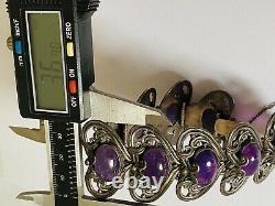 Vintage Rare Margot de Taxco 5213 Sterling Silver Amethyst Heart Link Bracelet