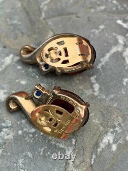 Vintage Signed Crown Trifari King Crown Royal Sterling Rhinestone Clip Earrings