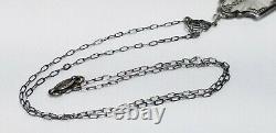 Vintage Signed Sterling Silver Art Deco Camphor Glass Necklace