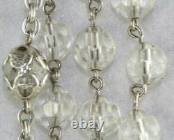 Vintage Sterling Silver Crystal Rosary From Roma Italy Rome