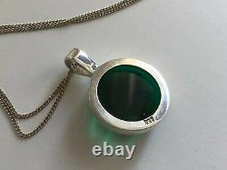 Vintage Sterling Silver & Green Glass Moon Face Pendant Necklace
