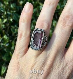 Vintage Sterling Silver Victorian Revival Etruscan Style Glass Intaglio Ring, 7