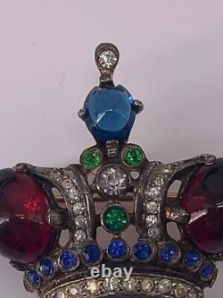 Vintage TRIFARI Sterling Silver Emerald Ruby Sapphire Rhinestone Crown Brooch