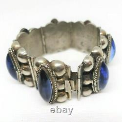 Vintage Taxco Mexico Sterling Silver Wide Bracelet Blue Glass Cabs Wide Panels