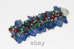 Vintage Tutti Frutti Style Sterling Silver Blue Red Green Glass Beads Bracelet