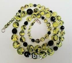 Vintage Uranium Vaseline Glass Necklace Graduated Beads Sterling Clasp 29