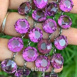 Vtg Art Deco Open-back Sterling Silver Amethyst Glass Crystals riviera necklace