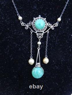 Vtg Edwardian Art Nouveau Sterling Filigree Faux Jade Pearls Lavalier Necklace