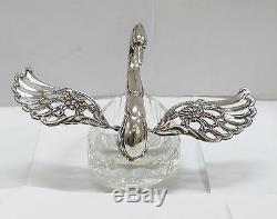 West German Sterling Silver & Cut Glass Swan Salt Cellar Dish