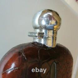 William Hutton & Sons Sterling Silver, Glass and Crocodile Flask England 1900