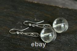 Wonderful Antique Edwardian English Silver Pool Of Light Glass Bead Earrings