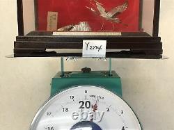 Y2274 OKIMONO Sterling silver Crane Turtle glass case Japan antique home decor